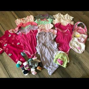 Huge lot baby girls socks one pieces bibs hats 0/3